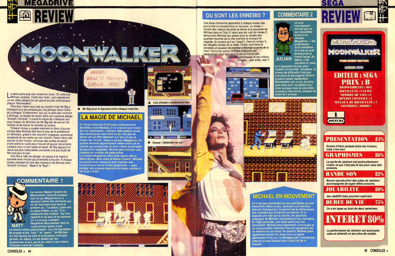 Moonwalker consoleplus 1 et 2